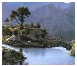 Photo of a lake in the Pyrenees Mountains.