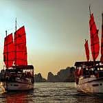 Ha Long Bay during Sunset