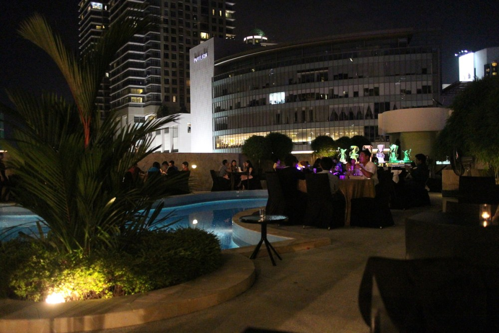 The atmospheric poolside at Novotel KLCC where guests ushered in the New Year 2014