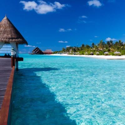 Maldives - Overwater spa in lagoon around tropical island