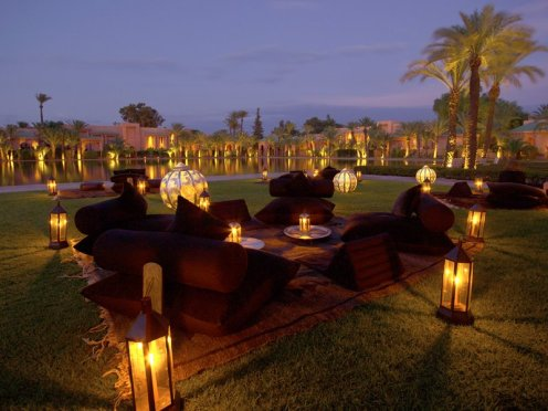 Amanjena - Marrakech, Morocco - Loungers along the central bassin at night