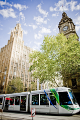 Trams traversing Collins Street in Melbourne, which is part of the Free Tram Zone
