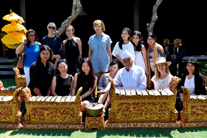 Pascal Morabito and wife Marie Eve posed with reporters during the launch of Priceless Bali at the Morabito Art Villa, which had the traditional gamelan ensemble set up to welcome guests