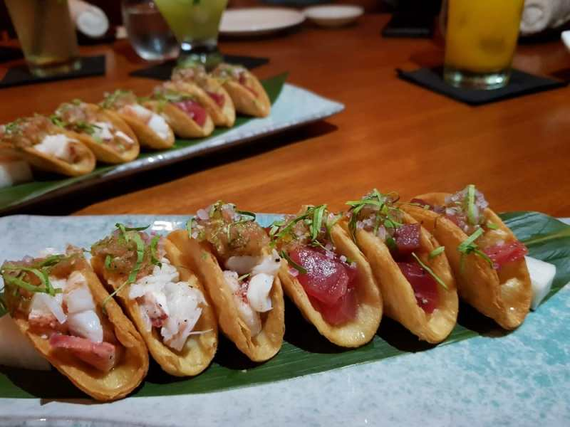 Tuna and lobster tacos at Nobu KL