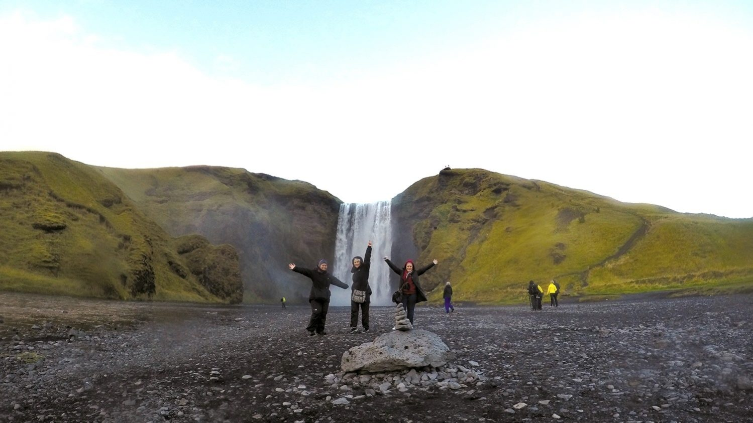 Skogafoss is one of the biggest waterfalls in Iceland, with a drop of 60 metres and 25 metres wide.
