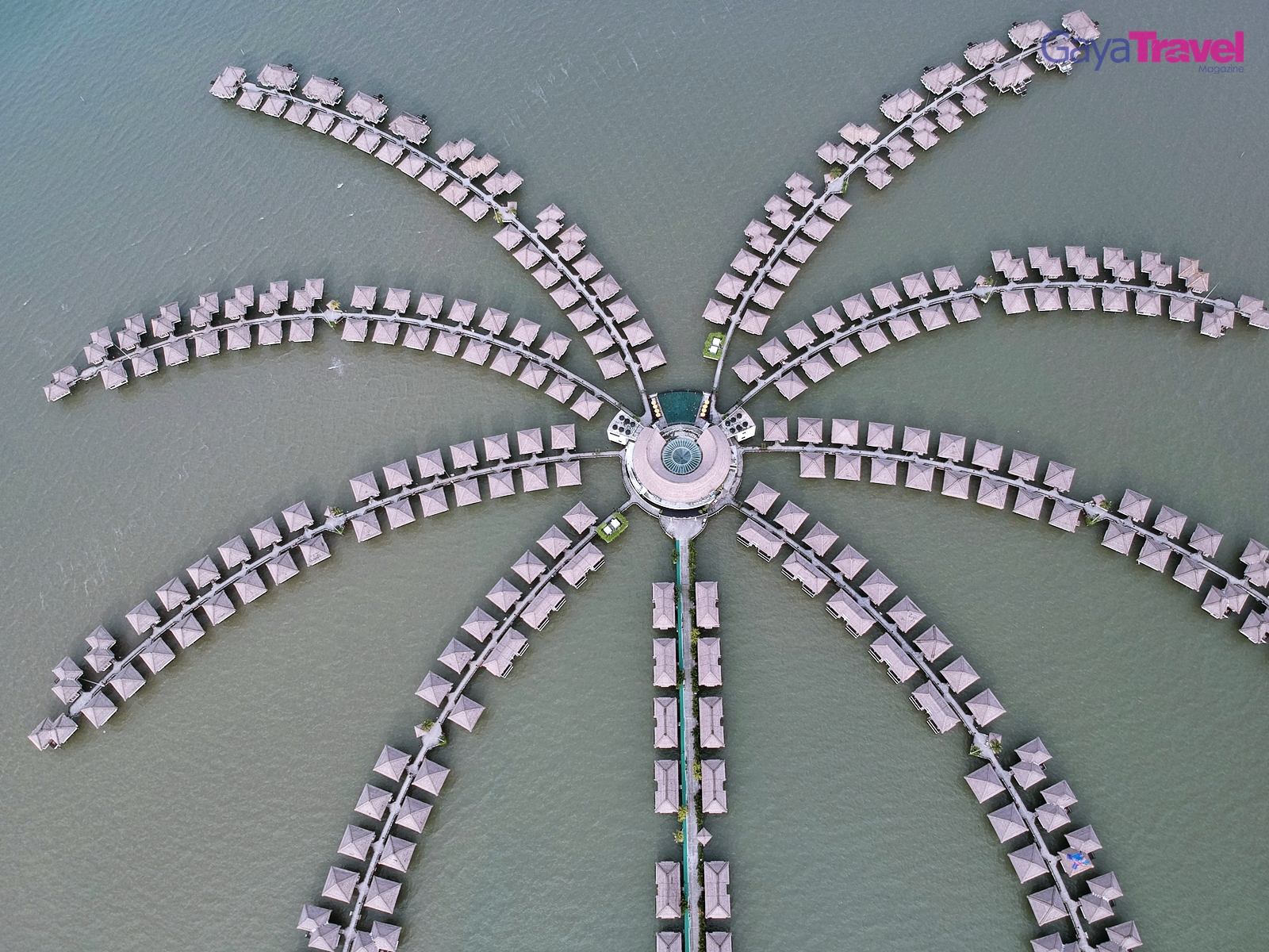 View of Avani Sepang Goldcoast Resort from above which resembles the shape of a water-palm tree.