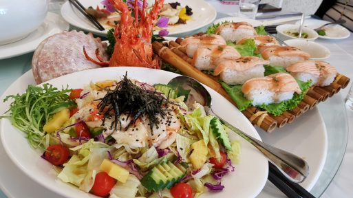 Hearty dishes for lunch at Shangrila Boutique Hotel in Yilan County