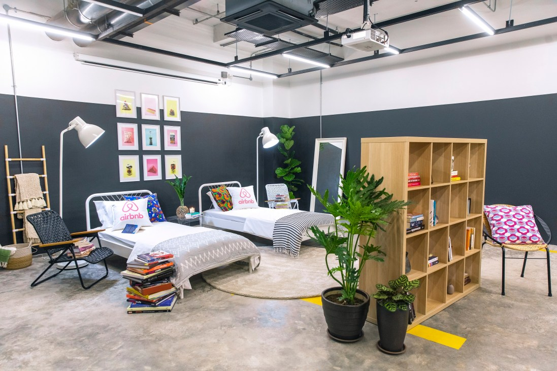 Airbnb transformed a space in BookXcess, Tamarind Square into an exclusive home just for one night, where Shila and her daughter Alyssa lived out their dreams of spending the night surrounded by half a million books.