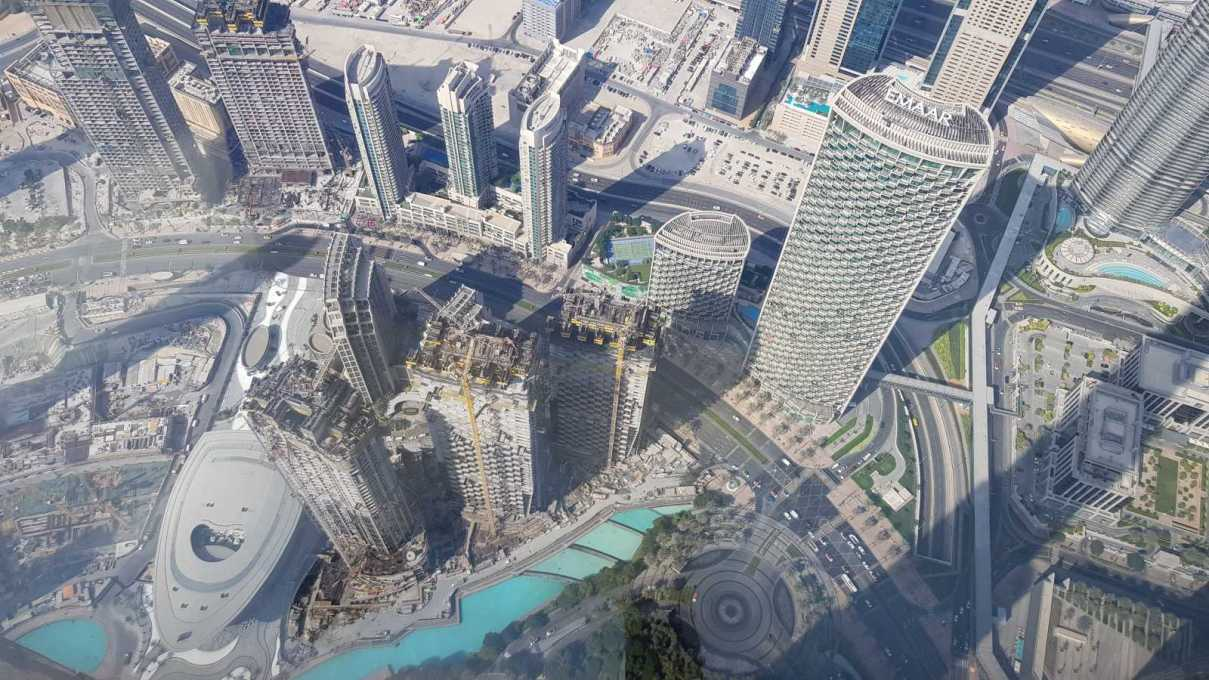 The view as you look down from At The Top Burj Khalifa on Level 148.