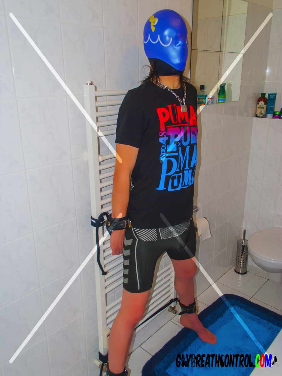 Emo Tied Up to Heater and Swim Cap Breath Control