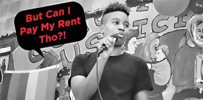 "J Mase III pictured speaking into a mic with a speech bubble that says ""But Can I Pay My Rent Tho?!"""