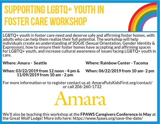 flyer for Amara workshop on helping LGBTQ+ youth in foster care