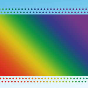 rainbow banner on a blue background