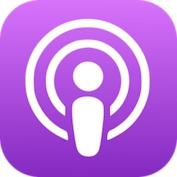Apple Podcast logo - person with two sound waves on a purple background