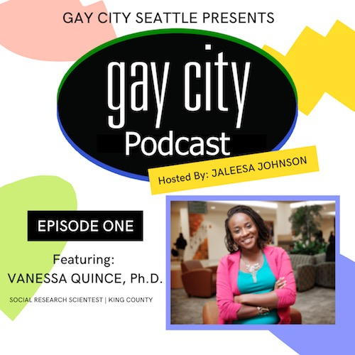 gay city podcast logo with picture of guest vanessa quince