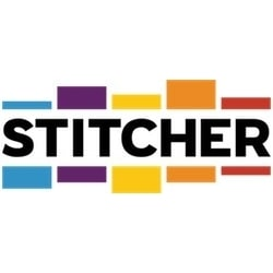 stitcher logo - tall rectangles surrounding the words stitcher