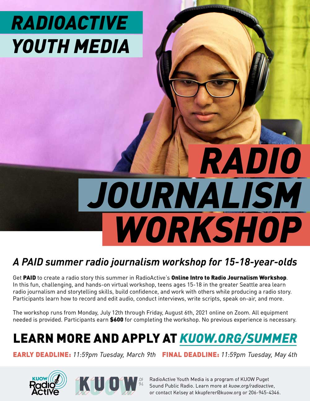 Flyer for KUOW's Radioactive youth journalism workshop