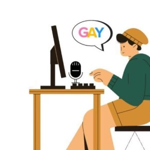 Illustration of person searching the word Gay on computer