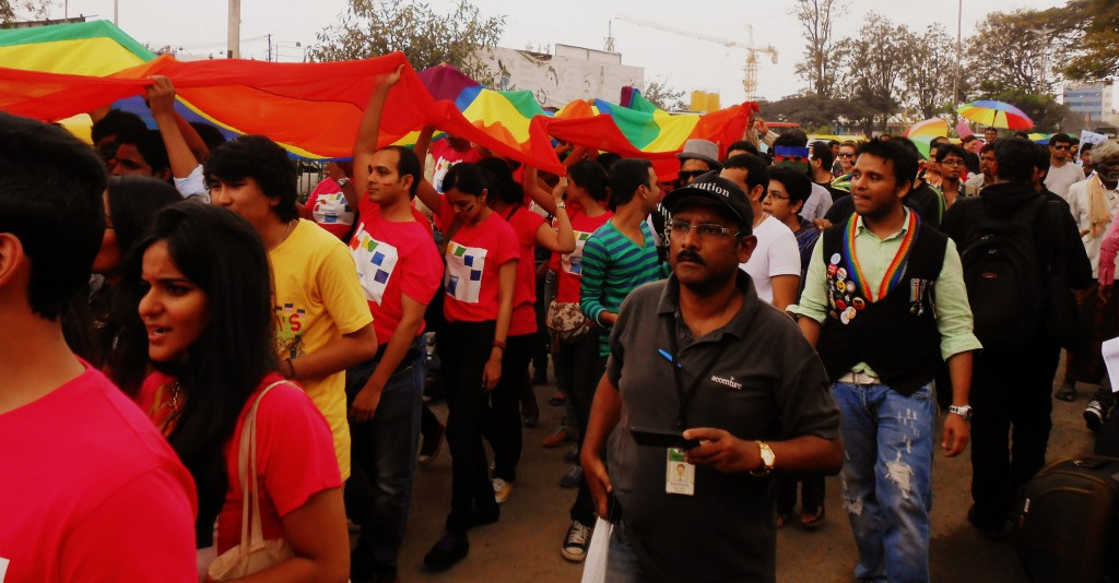 Participants walking the pride in Bangalore in 2014