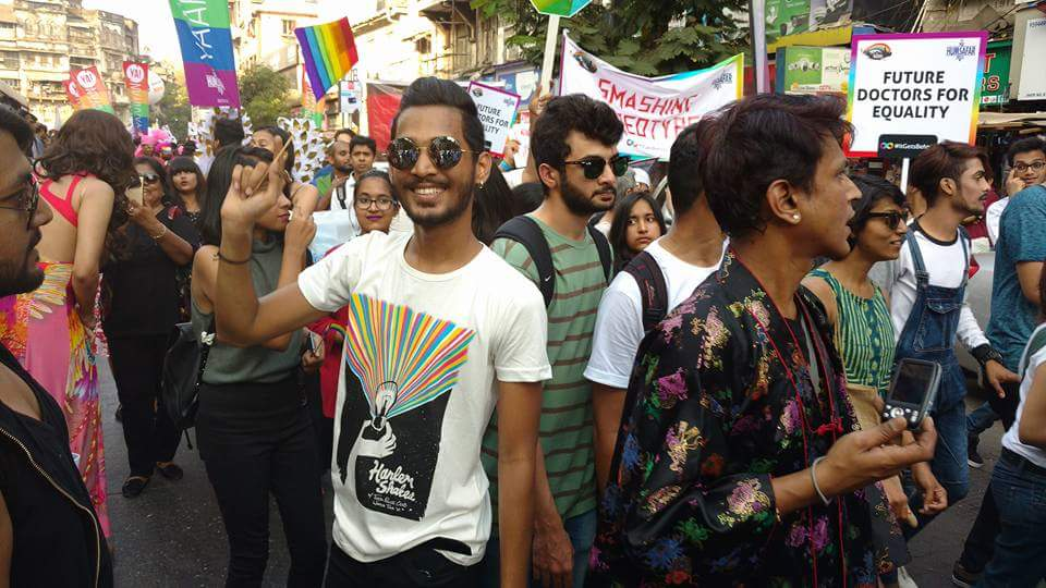 A participant gestures during the Mumbai Pride March 2017
