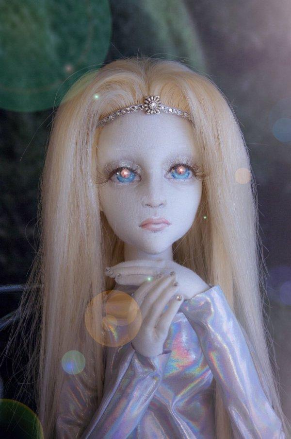 Becky Tall White Alien Child Ooak Cloth Girl Art Doll