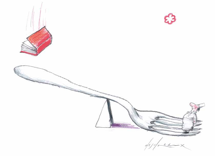 A hopeful chef reaches for a Michelin star (drawing by