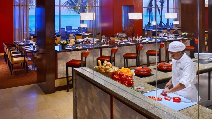 The open show kitchen at Waterfront Restaurant in Hyatt