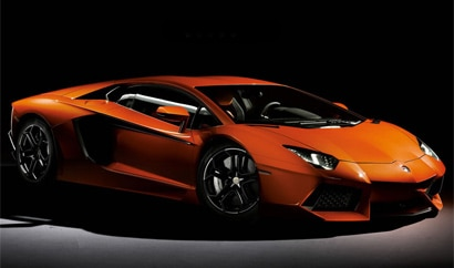 A three-quarter front view of a 2012 Lamborghini Aventador LP 700-4