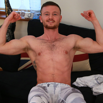 Muscled straight guy James Hallows