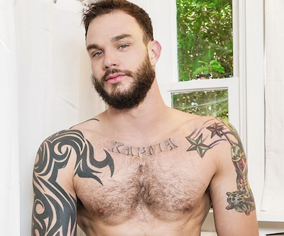 Muscled and hairy gay porn star Cliff Jensen