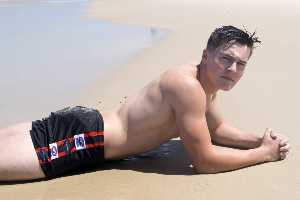 All Australian Boys: Hot jock Vincent has some fun at the beach and while visiting the gloryhole.