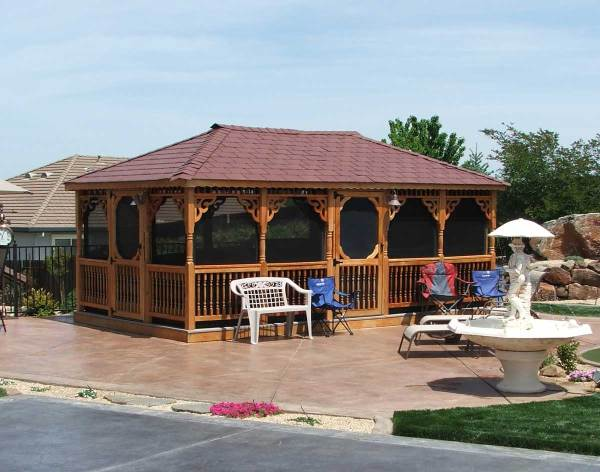 Red Cedar Single Roof Rectangle Gazebos With Deck Options