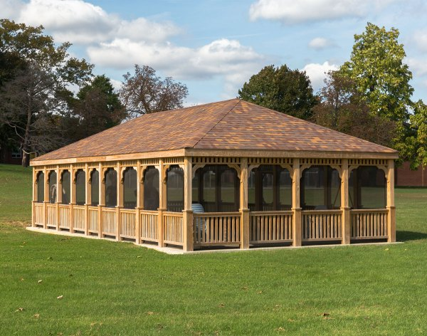Treated Pine Single Roof Rectangle Gazebos With Hurricane Resistant Package