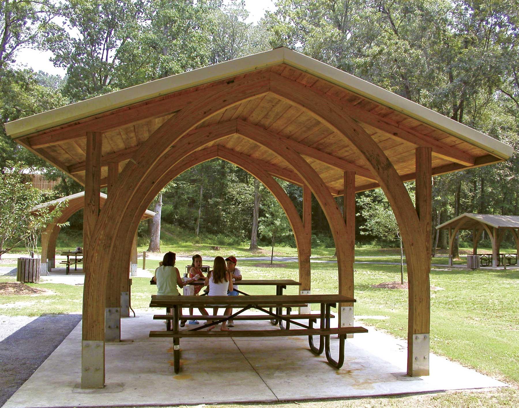 Wood Open Knee Phoenix Rectangle Pavilions  Pavilions