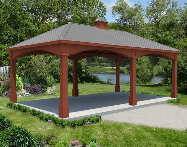 Red Cedar Double Roof Open Rectangle Gazebos With Powder Coated Aluminum Privacy Panel Short