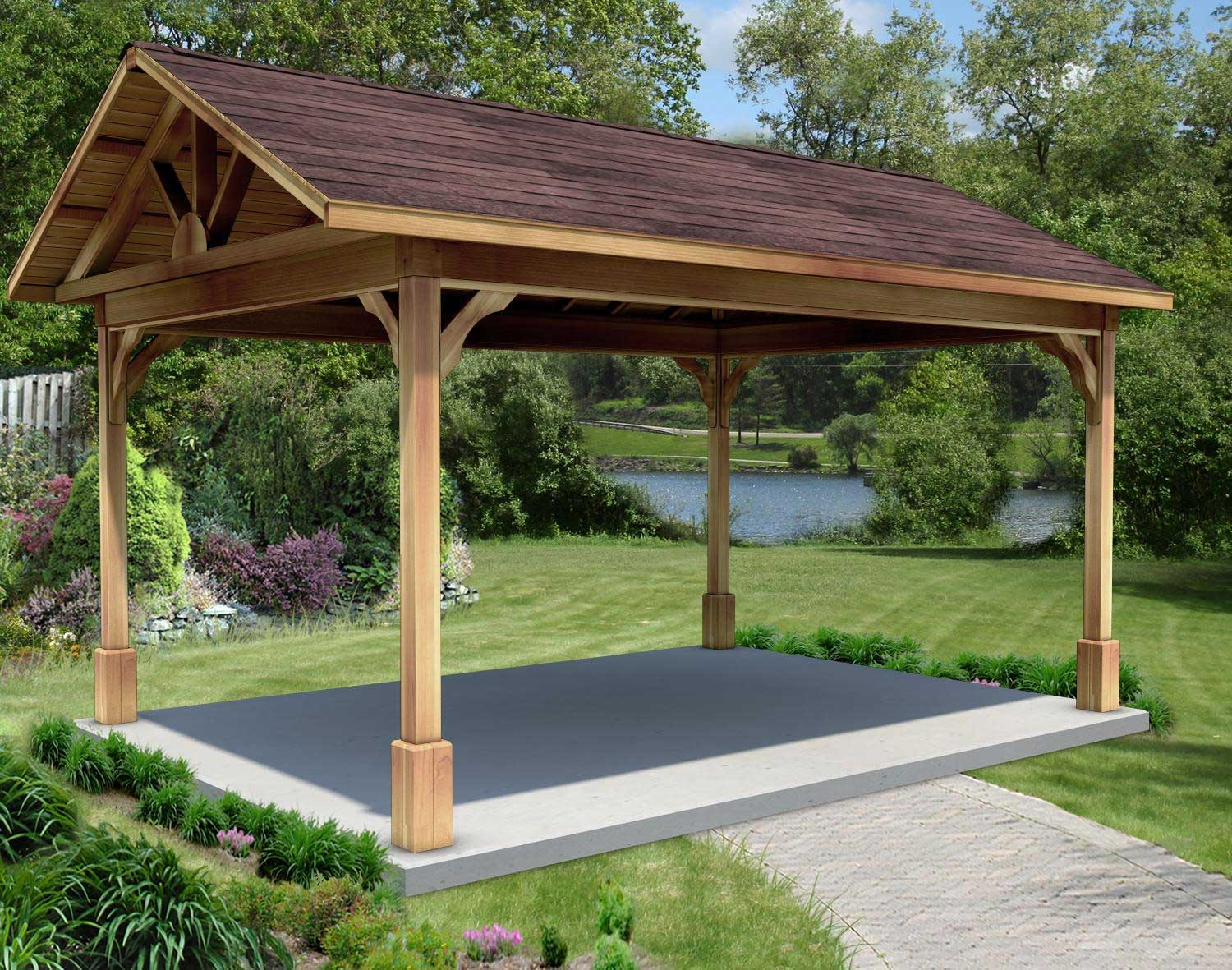 Red Cedar Gable Roof Open Rectangle Gazebos With 612 Roof