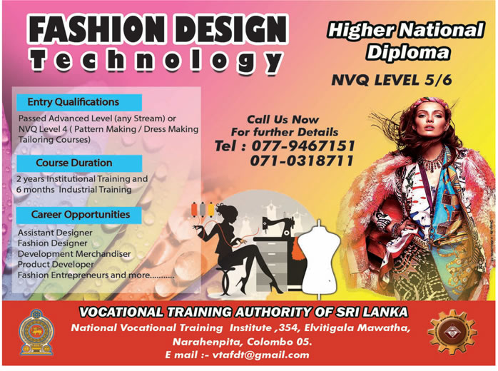 Higher National Diploma In Fashion Design Technology Vocational Training Authority Of Sri Lanka Gazette Lk