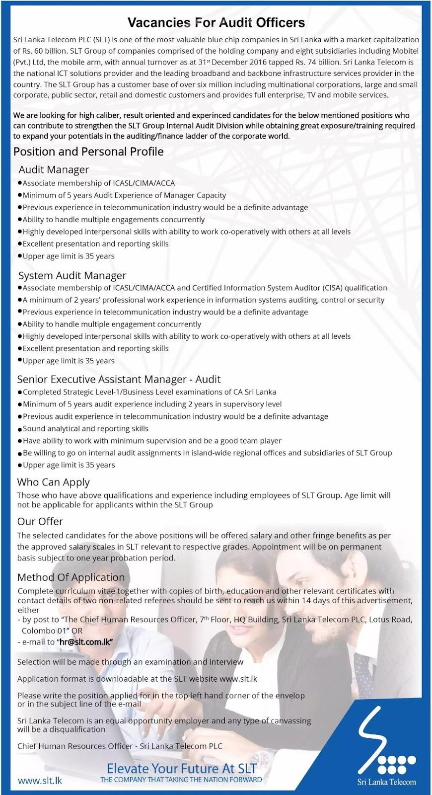 Sri Lanka Telecom Audit Vacancies  Government Jobs