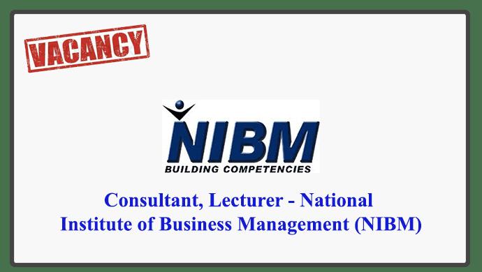 Consultant Lecturer National Institute Of Business Management Nibm Gazette Lk