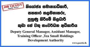 Deputy-General-Manager,-Assistant-Manager,-Training-Officer---Tea-Small-Holdings-Development-Authority