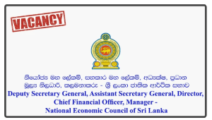 Deputy Secretary General, Assistant Secretary General, Director, Chief Financial Officer, Manager - National Economic Council of Sri Lanka