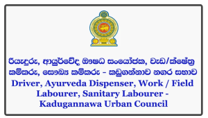 Driver, Ayurveda Dispenser, Work / Field Labourer, Sanitary Labourer - Kadugannawa Urban Council Closing Date: 2018-06-22