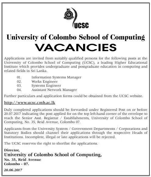 UCSC Vacancies - Gazette lk - ගැසට් lk