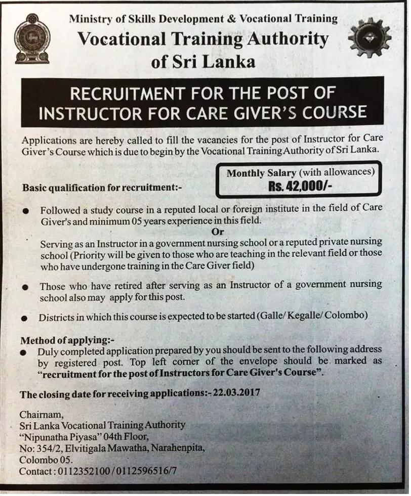 Instructor - Vocational Training Authority of Sri Lanka - Gazette lk