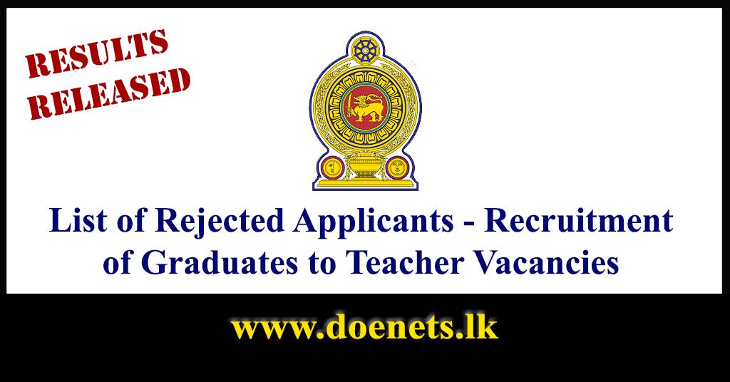 List of Rejected Applicants - Recruitment of Graduates to Teacher Vacancies