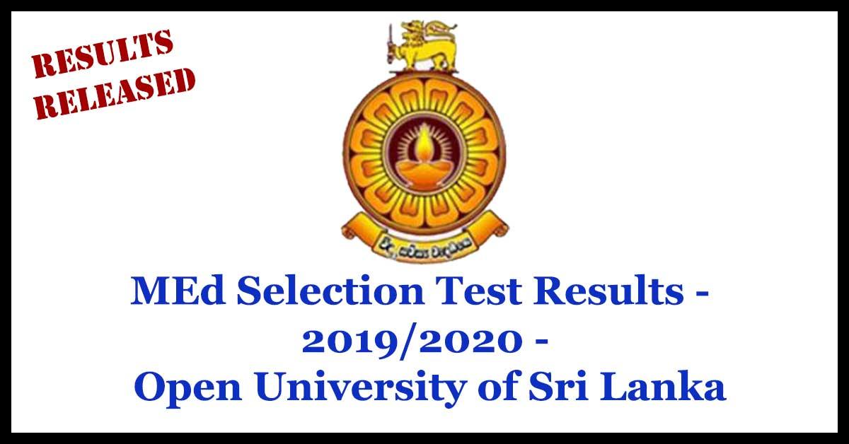 MEd Selection Test Results - 2019/2020 - Open University of Sri Lanka