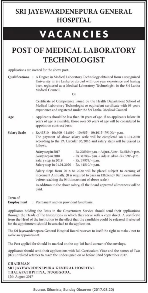 Medical Laboratory Technician (MLT) - Sri Jayewardenepura