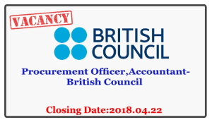 Procurement Officer,Accountant-British Council Closing Date :2018.04.22