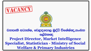 Project Director, Market Intelligence Specialist, Statistician - Ministry of Social Welfare & Primary Industries