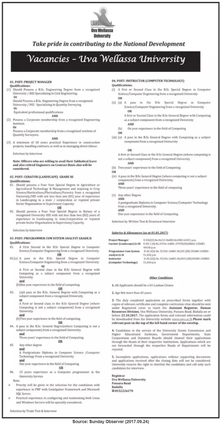 Uva Wellassa University- vacancies